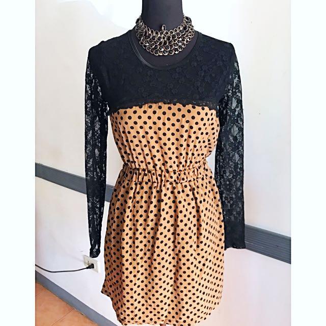 Korean lace polka dots dress