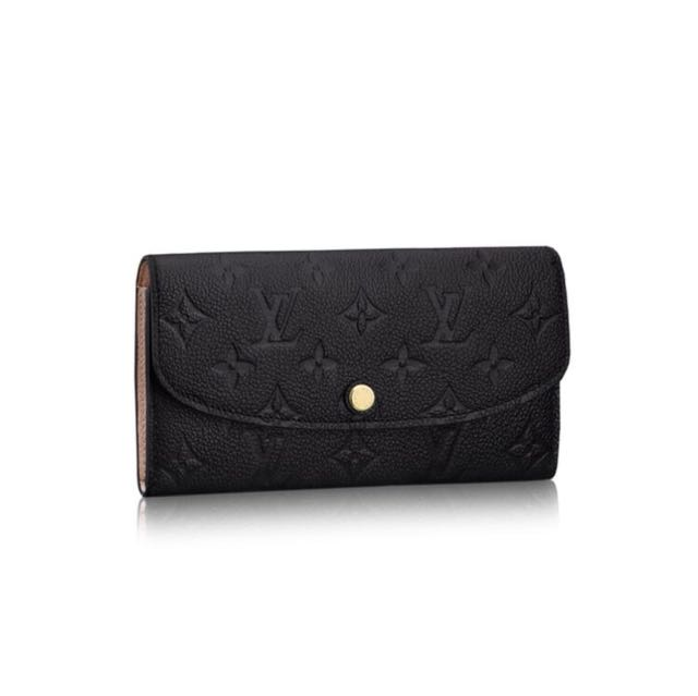 LV Black Leather Monogram Emilie Wallet