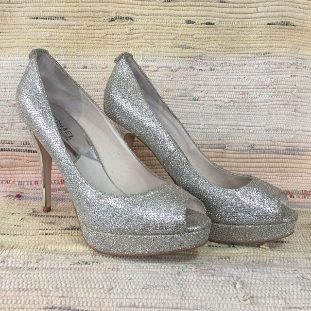 """Michael Kors Silver Glitter Shoes (Authentic/Barely Used/Fits 7-7.5"""")"""