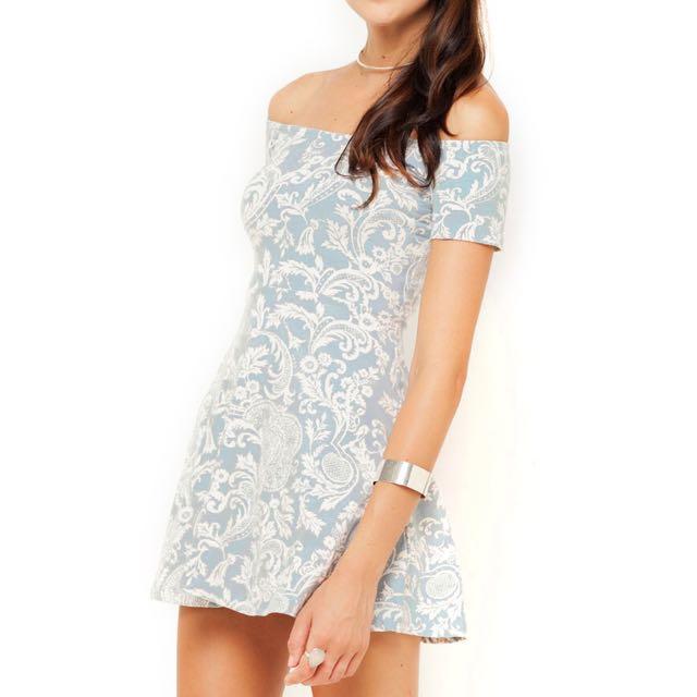 Motel Rocks / X-Small Paisley Blue Skater Dress