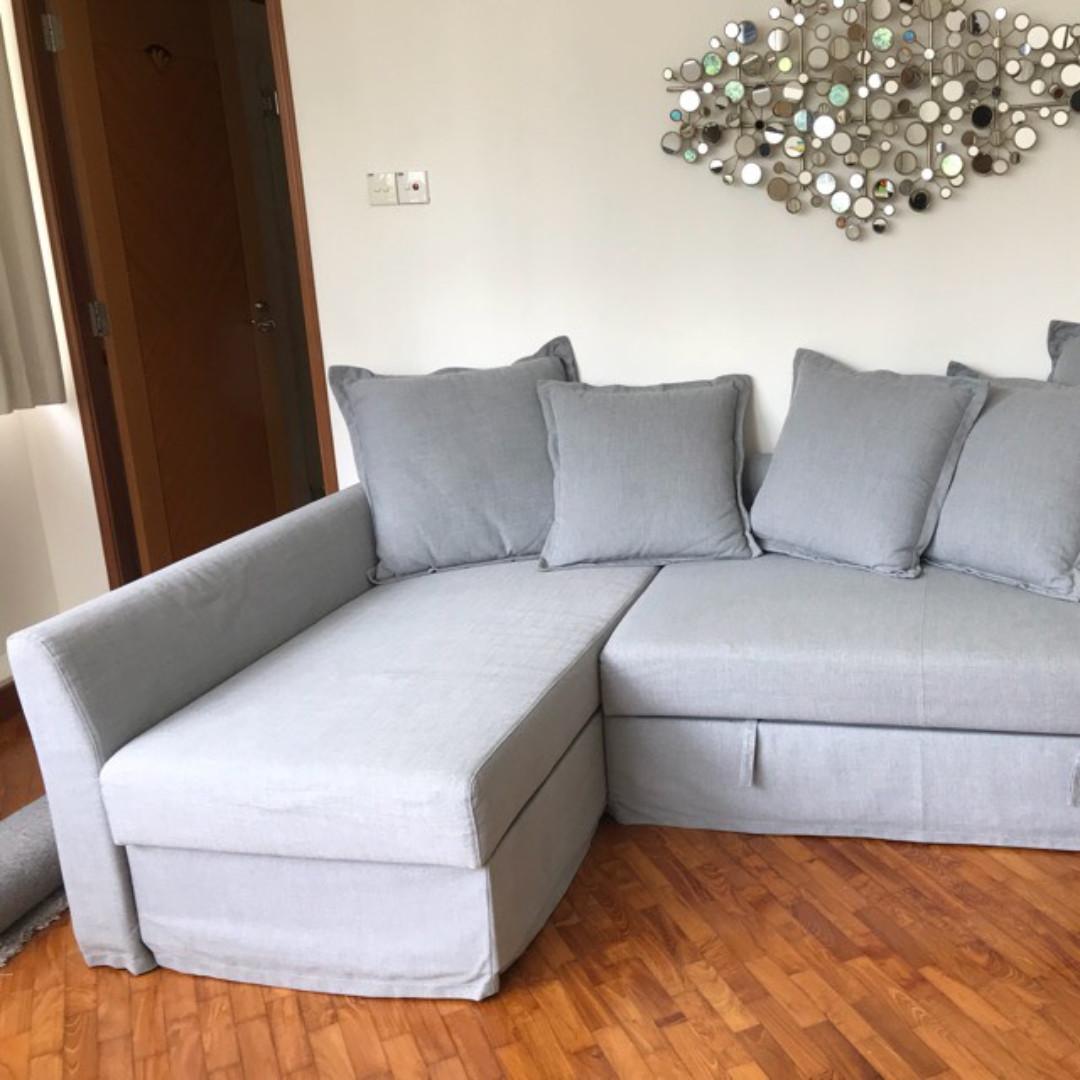 Sofa Bed With Storage For Sale: [Moving Sale] 10/10 IKEA Holmsund Grey Sofa Bed W/ Storage