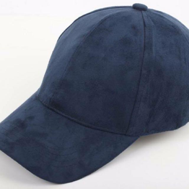 Navy Blue Suede Cap d735814b220