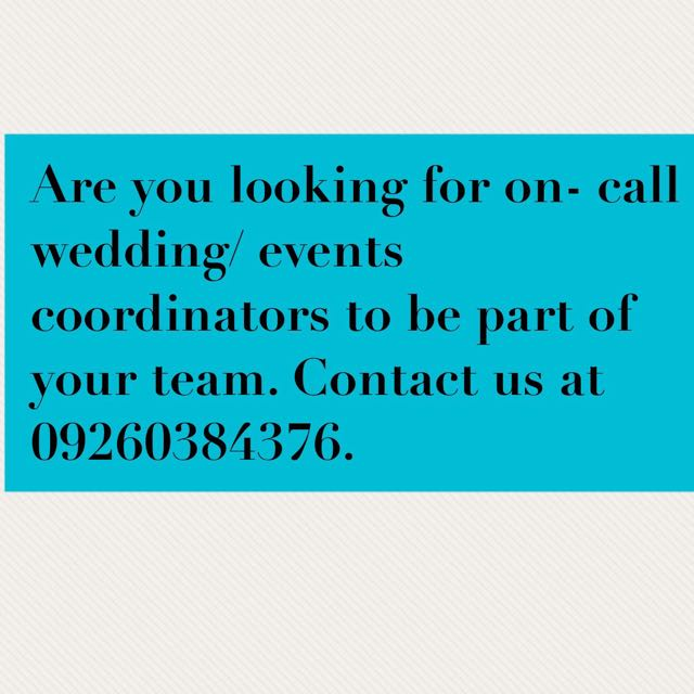 On call wedding/ events coordinators