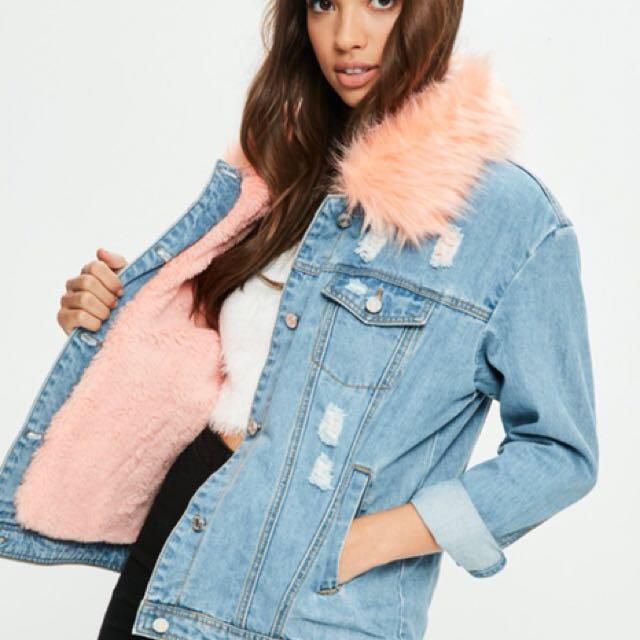 Pink Faux Fur Denim Jacket