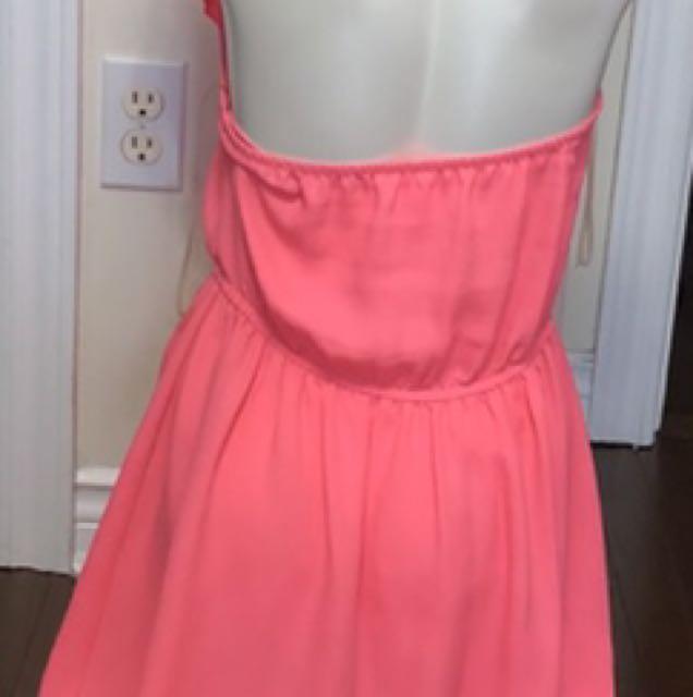 Pink ruffled halter flare dress size medium