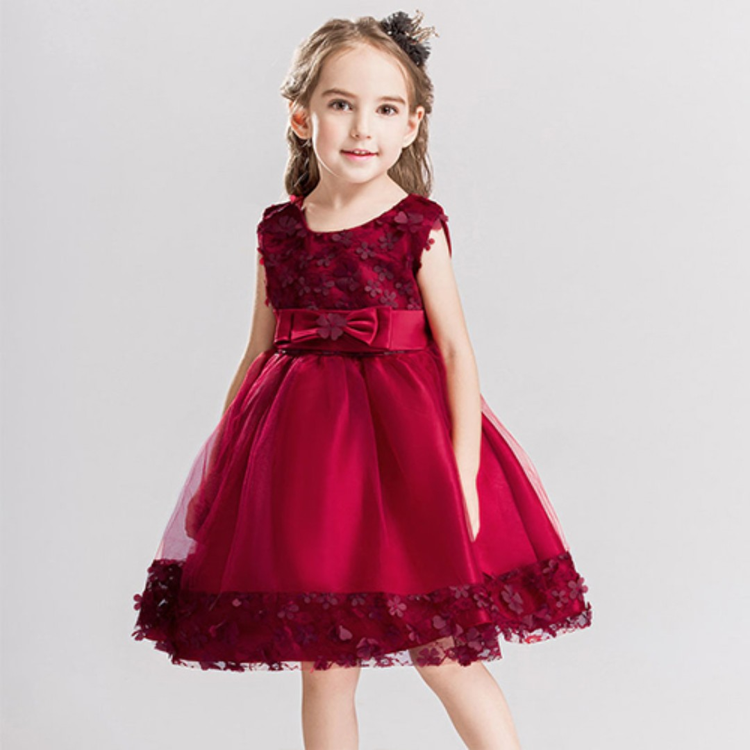 Pretty Rose Girl Dress Wedding Evening Gown Maroon, Babies & Kids ...