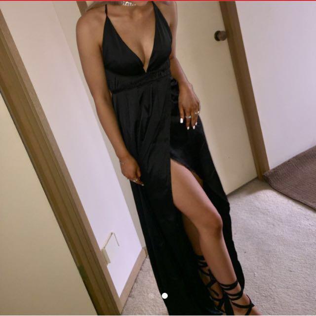 Princess polly Black silky formal dress