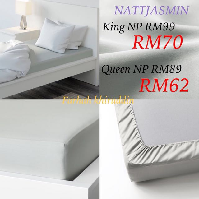 Ikea bedsheet nattjasmin grey QUEEN  only left