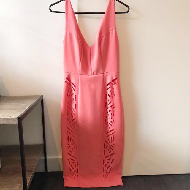 Seduce Cocktail Dress (Coral/Peach)