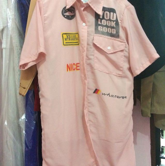 Shirt dress pink patch