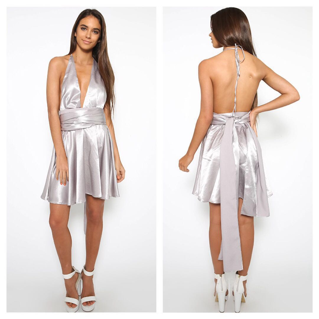 Silver Halter Tie Dress with Detachable Waist Tie Brand New with Tags Size 10