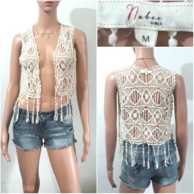 (S-M) Nabee Girls laced knit white blazer/vest