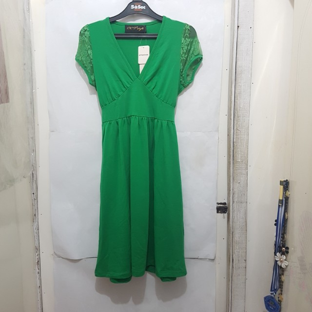 [SUBSIDI ONGKIR IDR 10.000] CCT GREEN DRESS