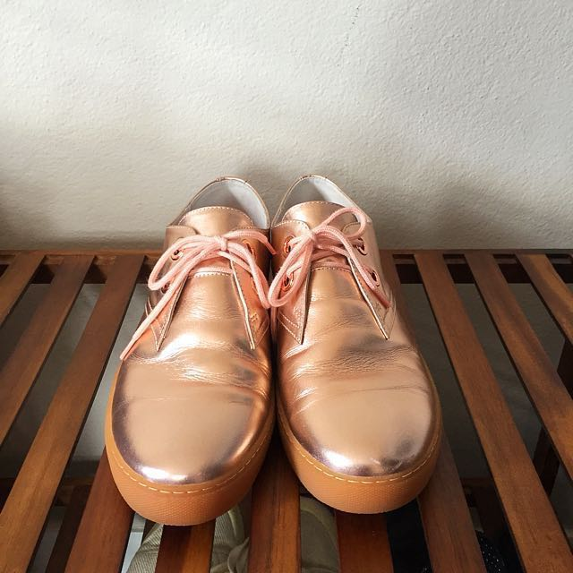 The Radical Yes Rose Gold Lace Up Shoes