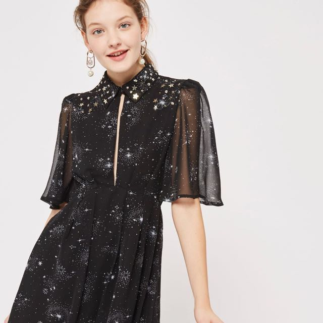 Topshop Star Embroided Skater Dress