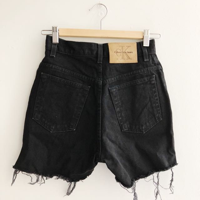 Vintage Calvin Klein Black Denim High Waisted Shorts