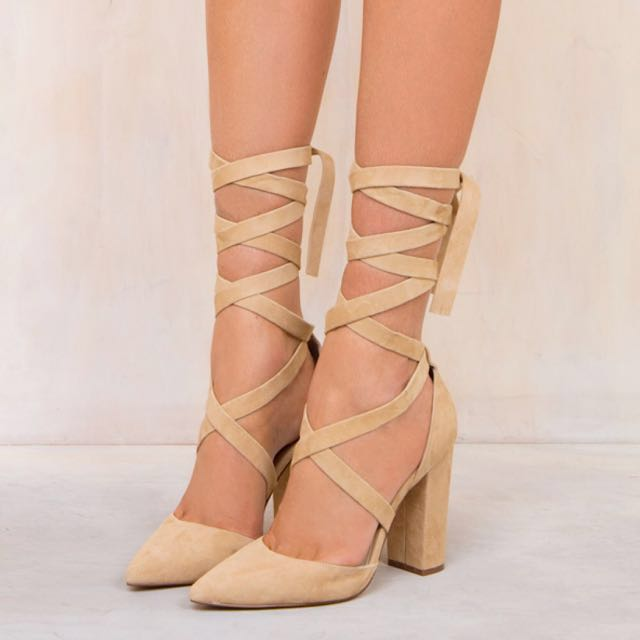 Windsor Smith Bryony Lace Up Heels in Camel Suede NIB Size 9