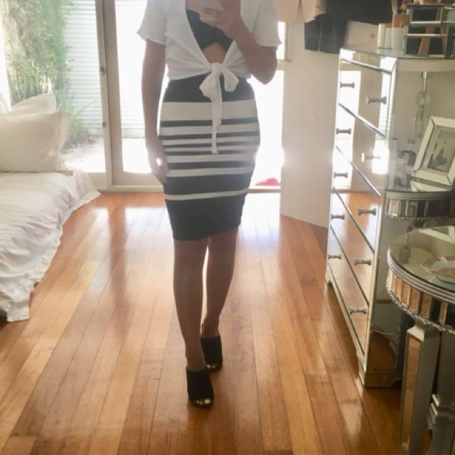 Witchery High Waist Stripe Skirt