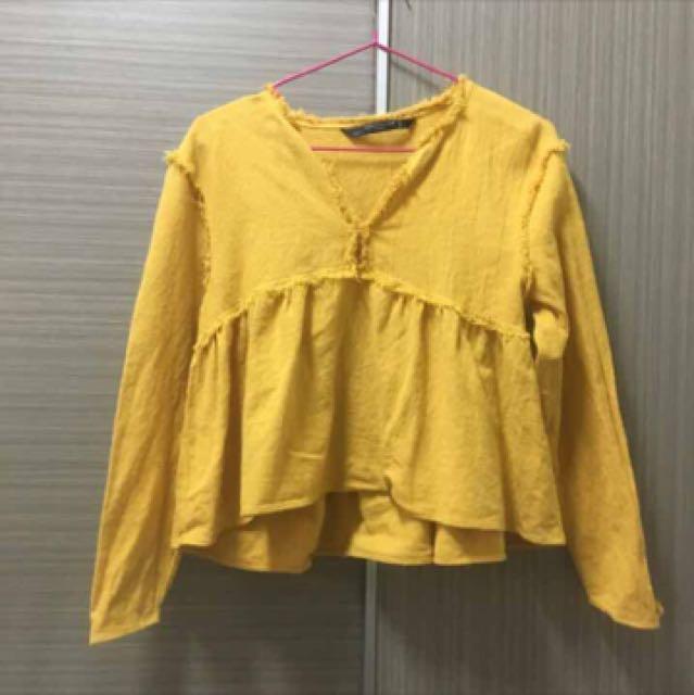 Zara 芥末黃短版上衣
