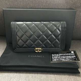 100% Real CHANEL Boy Wallet 銀包
