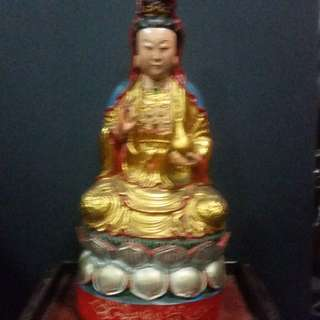 Chinese Vintage Wood Carving Statue ( Guan Yin )