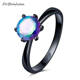 Black Gold Ring with Holographic Diamond