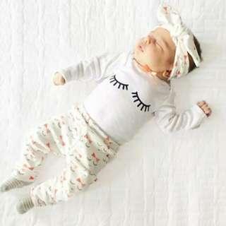 Newborn Baby Girl Long Sleeves Top+Pants+Headband 3pcs Set .