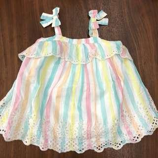BNWT 6m - 12m Baby GAP pastel stripe dress with bloomer