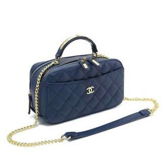 Chanel Satchel Caviar Bag Blue Color