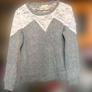 白色lace拼灰色冷衫