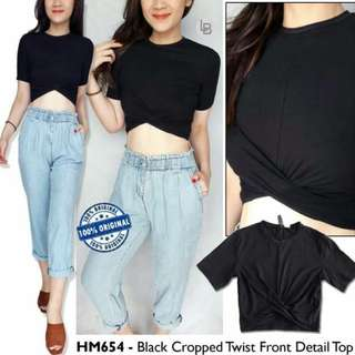 H&M Black Cropped Twist Front Detail Top