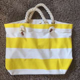 Forever 21 Yellow Stripe Beach Bag