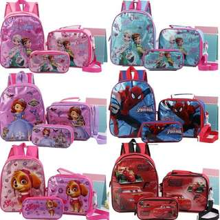 3 PIECES CARTOON KIDS BACKPACK SCHOOLBAG PENCILCASE