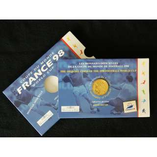 1998 FIFA World Cup 98 France Commemorative 1F Coin & Official Logo Pin in original Sleeve (MINT)