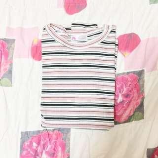 粉紅白黑間條衫