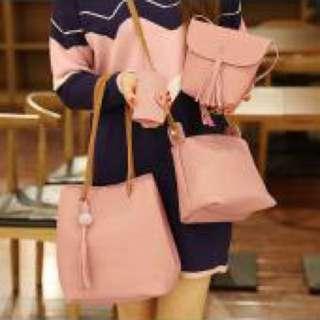粉紅色流蘇水桶子母包