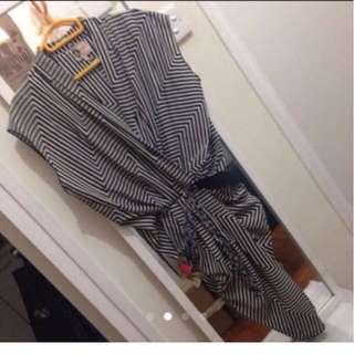 Authenthic Lanvin Geometric dress with tassel belt