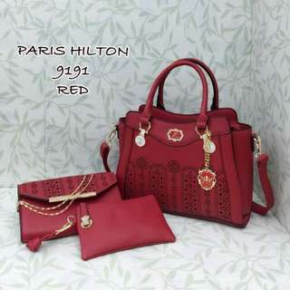 Paris Hilton Handbag 3 in 1 Red Color