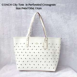 Coach City Tote in Perforated Crossgrain