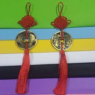 Hanging Ornament ↪ Auspicious Metal Crafted Piece with Tassel 💱 $9.90 Each Piece/ $18.00 for 2 Pieces