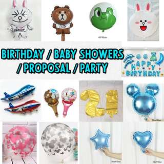 Birthday/Baby Showers/Party Balloons!! Foil/Plastic/Latex balloons