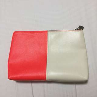 Lancôme orange white skincare bag