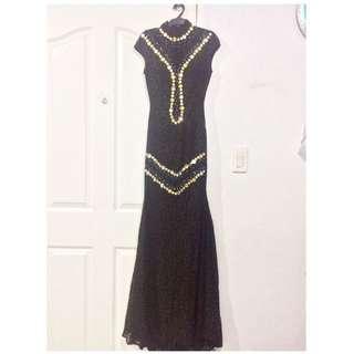 Black Long JS Prom Debut Awarding Birthday Gown