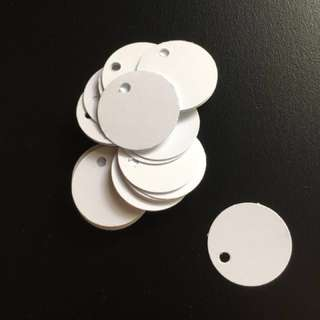35pc White Blank One Inch Round Circle Tags
