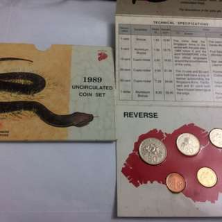 1989 uncirculated Singapore coin set