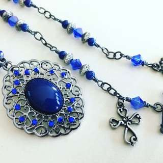 Blue and Pewter Uniquely Handcrafted Pendant Necklace
