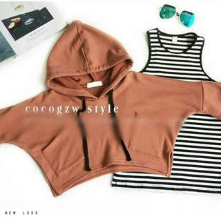 Korea Stylist Two-Piece Casual Hooded Sweater Striped Vest Skirt Suit