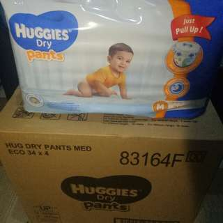 HUGGIES DRYPANTS PULL UP MED 34S