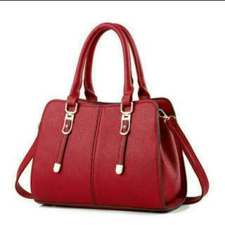 Handbag Korea Style Elegant Grand Good Quality deep Red 韓系 手袋 女裝 深紅 搶眼  高貴 高質001 fashion red
