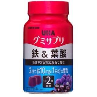 🚚 日本 UHA 味覺糖 2罐 60天 120粒 鐵&葉酸 巴西莓混合口味 水果軟糖 美味營養補給品